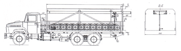 ЛСПП на шасси КрАЗ с кран-балкой